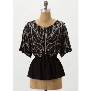 maple ANTHROPOLOGIE vintage style peplum blouse XS